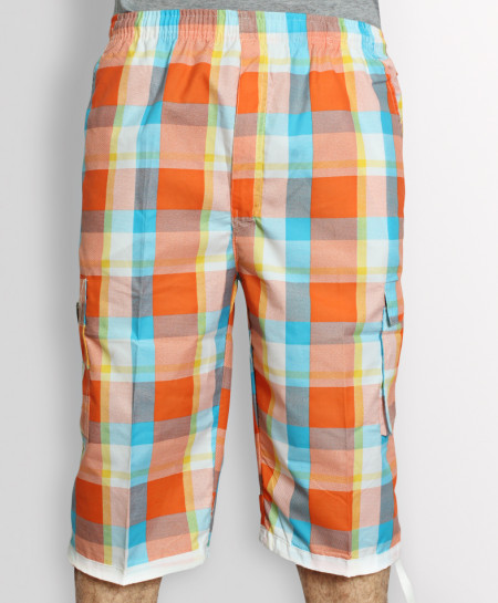 Orange Checkered 2 Sided Pockets Shorts AZ-3421
