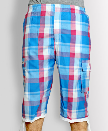 Light Blue 2 Side Pocket Checkered Shorts HK-3318