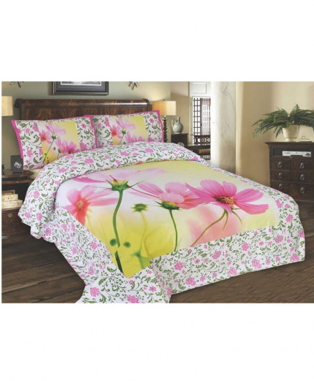 White And Pink Styish Floral Cotton Bedsheet SY-235
