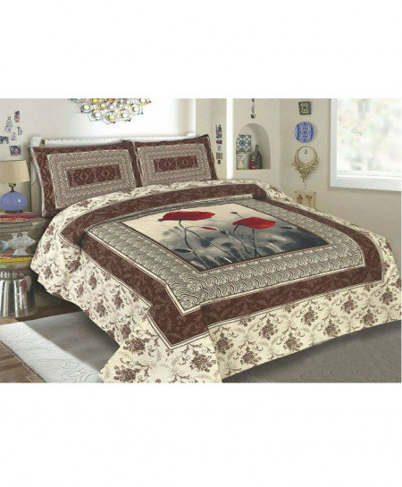 Brown With Red Floral Style Cotton Bedsheet SY-236