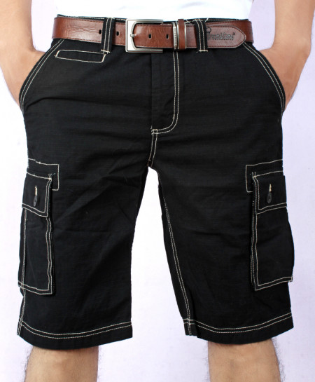 Black Threaded Mens Cargo Shorts MST-599