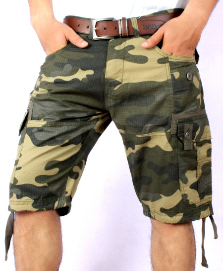 Green Camo 8 Pocket Mens Cargo Shorts MST-445