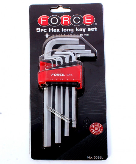 Force 9pc Hex Long Key Set No-5093L