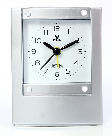 Pearl  Travelling Silver Alarm Clock B-1