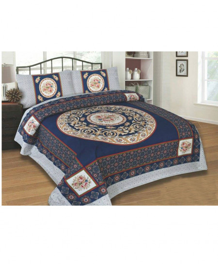 Blue With Grey Floral Design Cotton Bedsheet SY-241