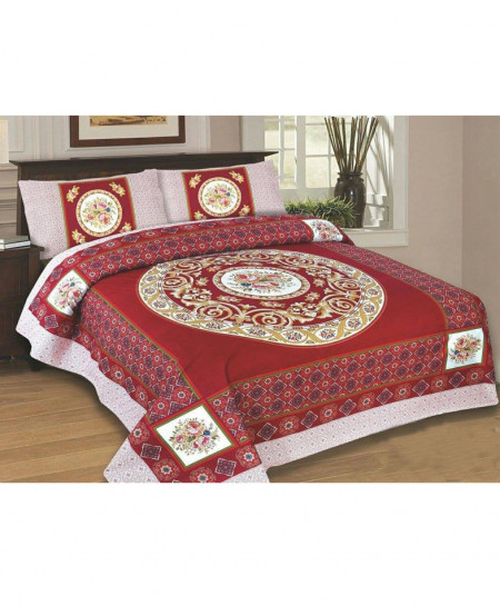 Red Floral Style Cotton Bedsheet SY-242