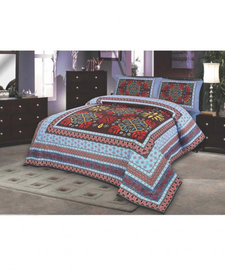 Multicolor Front Floral Design Cotton Bedsheet SY-244