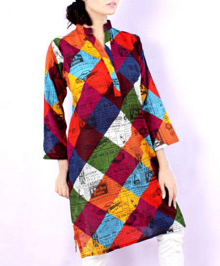 Multi Color Newspaper Style Ladies Kurti VRJ-1603