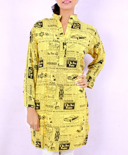 Gold Lemon Newspaper Style Ladies Kurti VRJ-1605