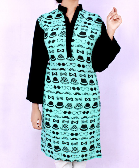 Emerald Black Emoji Printed Ladies Kurti VRJ-1608