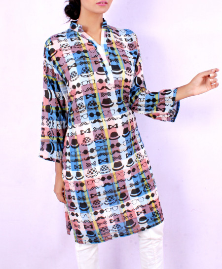 Rusty Blue Emoji Printed Ladies Kurti VRJ-1611