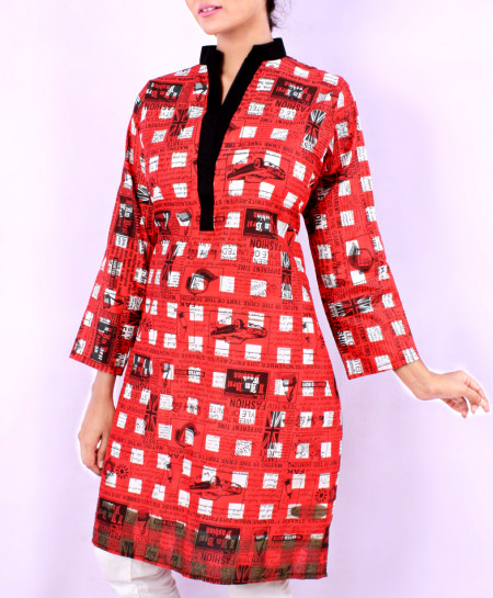 Rusty Red Newspaper Printed Ladies Kurti VRJ-1614