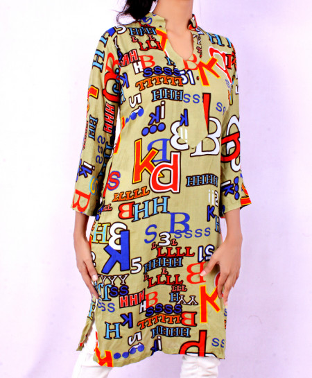 Sage Alphabetic Printed Ladies Kurti VRJ-1615