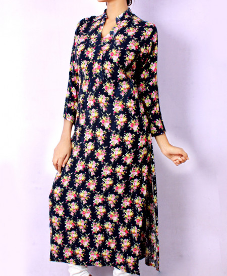 Pinkish Blue Printed Style Ladies Kurti VRJ-1621