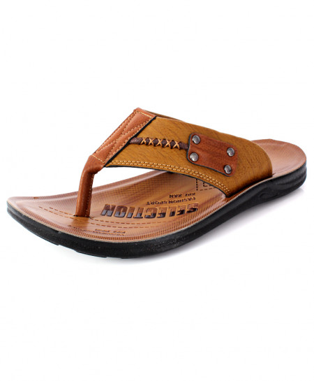 Brown Stitched Design Flip Flop Slipper DR-701
