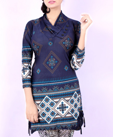 Navy Blue Printed Ladies Kurti With Trousers GT-1635