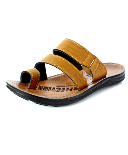 Yellow Brown Stitched Design Thumb Loop Slipper RS-704