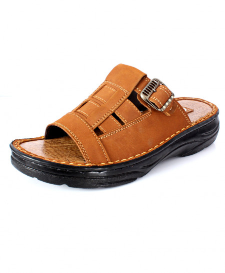 Brown Side Buckle Stitched Design Slipper RS-706