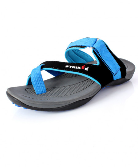 Blue Black Cross Strap Design Slipper DR-709