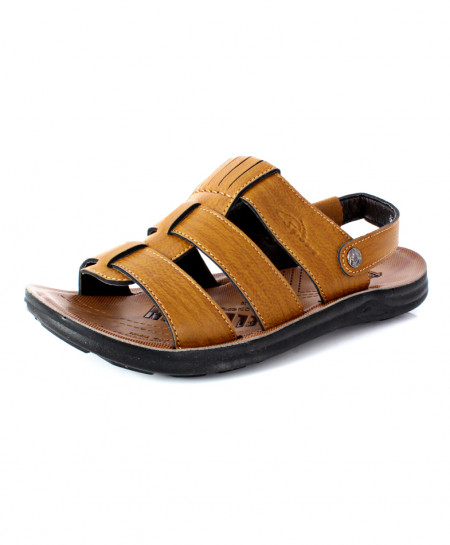 Camel Brown Open Toe Stitched Style Sandal DR-716
