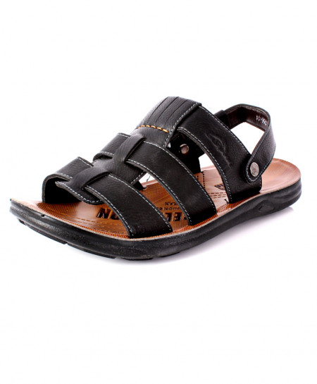Black Open Toe Stitched Style Sandal DR-717