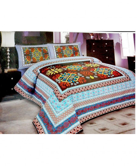 Multicolor Front Stylish Floral Design Bedsheet BA-1131