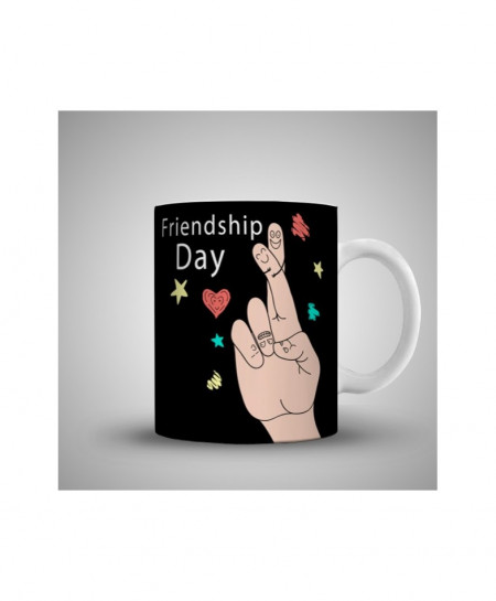 2X Finger Friendship Day Printed Mug WH-0518