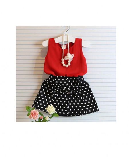 Red And Black Stylish Baby Skirt Suit AM-223