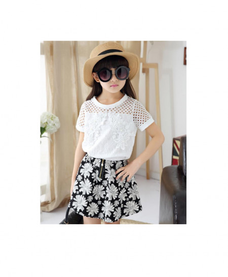Baby White Shirt With Black Floral Skirt Suit AM-224