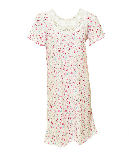Espico International Pink And Blue Flower Cotton Nighty