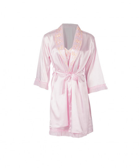 Espico International Embroidred Pink Nylon Nightsuit