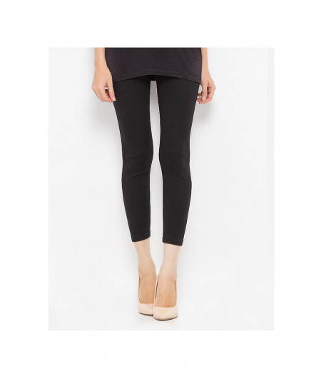 Espico International Black Rib Lycra Cotton Tights