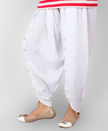 White Stylish Ladies Tulip Pants GT-8620