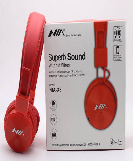 NIA X3 Bluetooth Wireless Red Headphone CZ-34