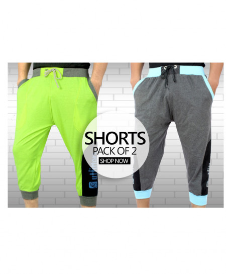 Pack Of Two Stylish Three Quarter Mens Shorts