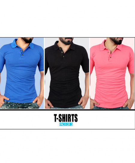 Pack Of 3 Plain Polo T-Shirts PS-5455