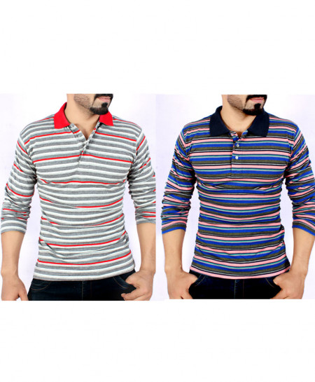 Pack Of Two Stylish Yarn Dyed Full Sleeve T-Shirts AG-1