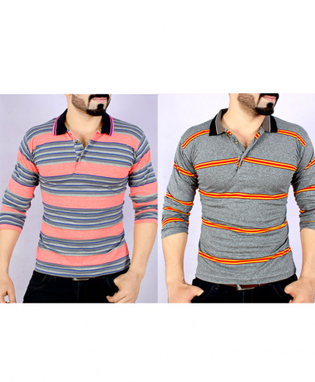 Pack Of Two Stylish Yarn Dyed Full Sleeve T-Shirts AG-3