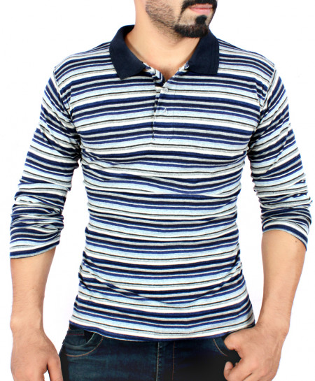 Blue Yarn Dyed Striper Full Sleeve T-Shirt
