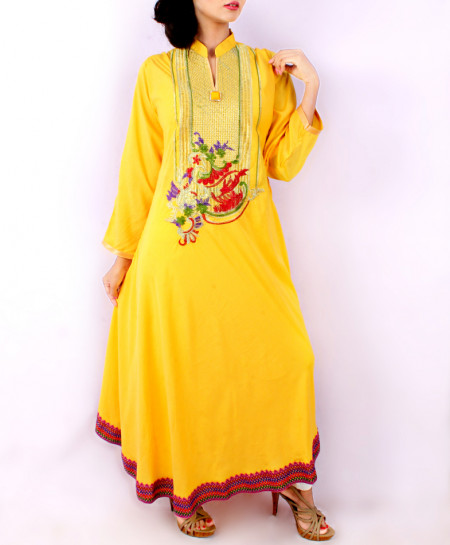 Yellow Front Embroidered Long Stylish Kurti KC-701