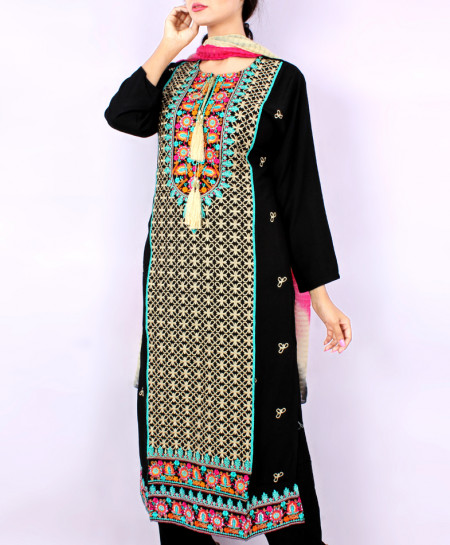 Black Front Embroidered Stylish Ladies Suit KC-706