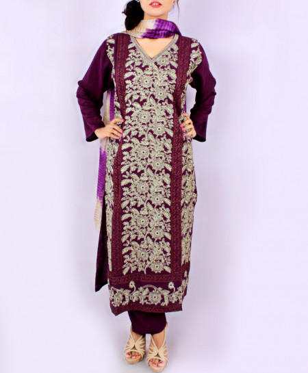 Magenta Front Embroidered Stylish Ladies Suit KC-707