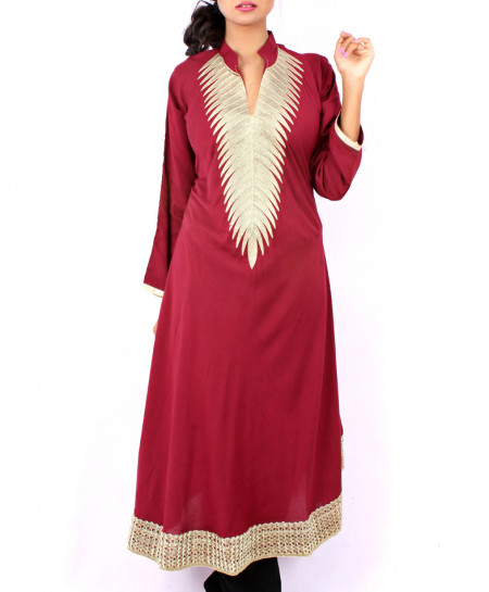 Dim Maroon Front Aplic Work Stylish Long Kurti KC-716