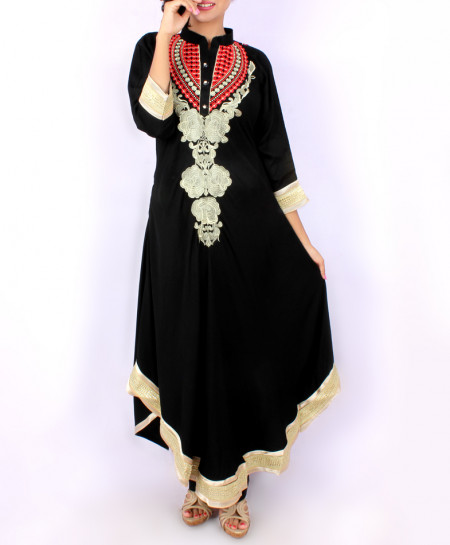 Black Front And Back Embroidered Stylish Kurti KC-710