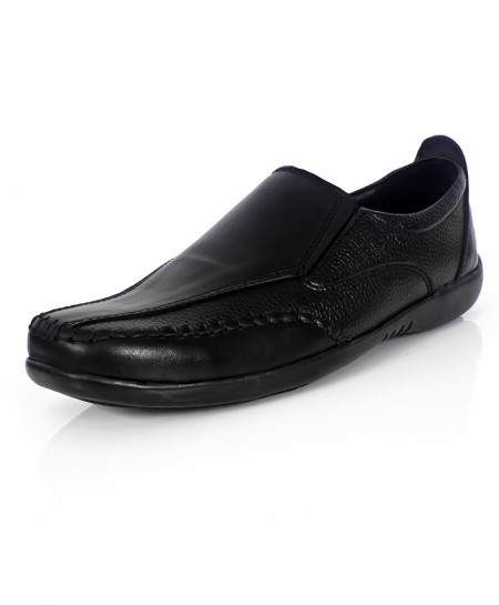 Black Stitched Style Causal Slip On Shoes IS-007