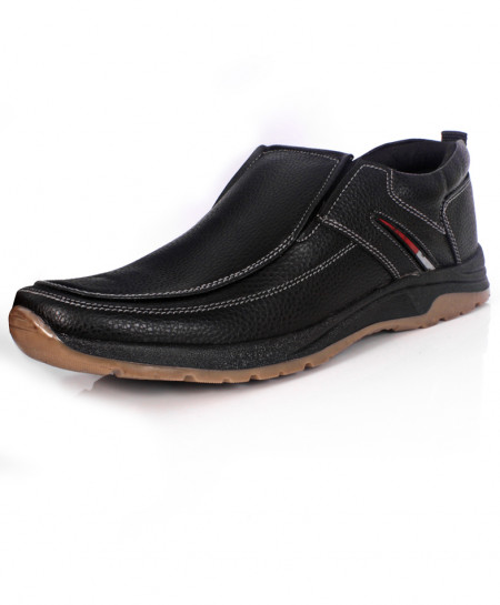 Black Leather Causal Slip On Shoes SC-S7