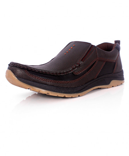 Brown And Black Leather Casual Slip On Shoes SC-S5