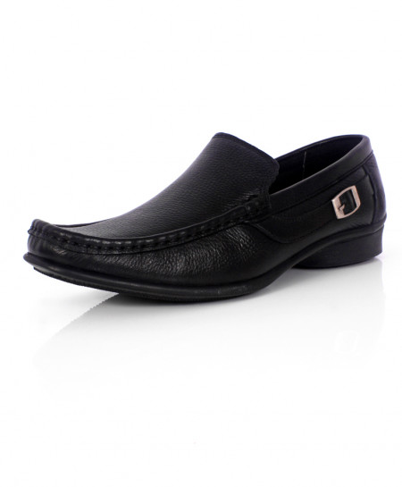 Black Leather Side Buckle Style Causal Shoes SC-X1