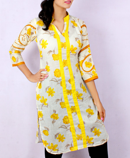 Beige Yellow Contrast Printed Style Kurti FLK-5140