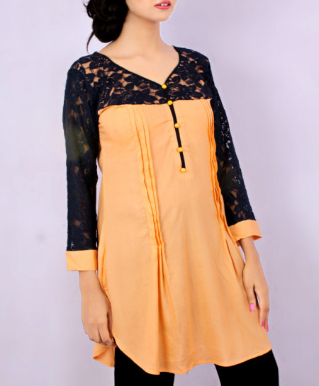 Peach Knitted Sleeves Short Style Kurti FLK-5141
